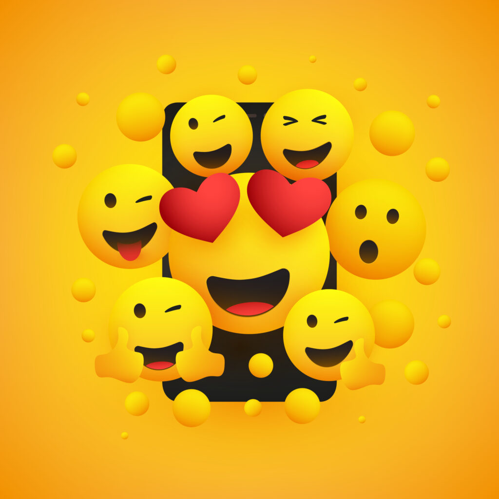 Various Smiling Happy Yellow Emoticons Design, Group of Funny People in Front of a Smartphone Screen, Vector Concept Illustration